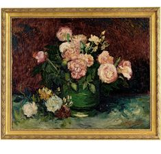 Shop for Vincent Van Gogh 'Bowl with Peonies and Roses' Hand Painted Framed Canvas Art. Get free delivery On EVERYTHING* Overstock - Your Online Art Gallery Store! Oil Painting On Canvas, Painting Frames, Painting Prints, Canvas Frame, Canvas Art, Canvas Prints, Canvas Size, Van Gogh Pictures, Van Gogh Paintings