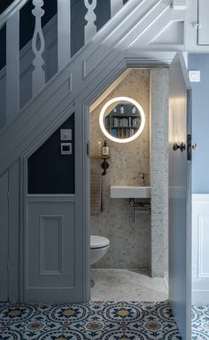 Ulverston Road I Small Downstairs Toilet, Small Toilet Room, Small Bathroom, Bathrooms, Bathroom Under Stairs, Toilet Under Stairs, Bathroom Interior Design, Bathroom Inspiration, Home Remodeling