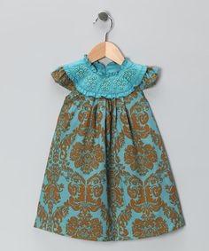 Take a look at this Blue & Gold Beaded Yoke Dress - Infant, Toddler & Girls by TS & Company by Trish Scully on #zulily today!