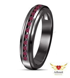 0.21 CT 14K Black Gold Plated Round Cut Pink Sapphire Women's Wedding Band Ring #Affoin8 #WomensWeddingBandRing