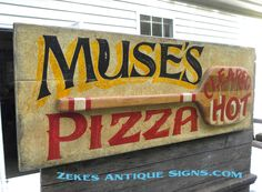 hand painted Pizza Pie sign by ZekesAntiqueSigns Pizza Sign, Open Signs, Business Signs, Hand Painted Signs, Pie, Antiques, Painting, Decor, Torte