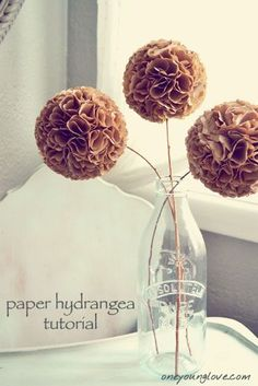 "paper hydrangea tutorial: I used coffee filters..use the ""natural"" or white...I also dipped some white ones in water dyed with food coloring"