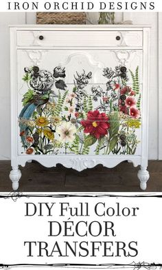 Check out this and the other amazing Decor Transfer from Iron Orchid Designs. Full color looks like a custom painted piece of furniture without all the mess and it is so easy! Use them on your walls too! #DecorTranfers #DIYFurnitureideas