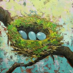 Nest painting 220 24x24 inch original oil painting by by RozArt, $250.00