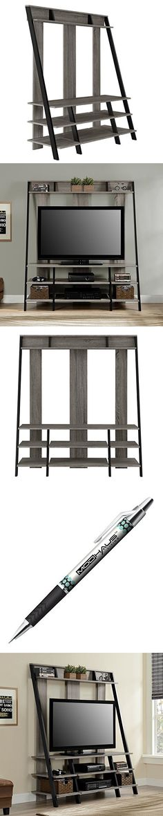 Modern Ladder Style 4-Shelves TV Stand Media Console | Wooden Shelfs and Black Metal Frame, Living Room Decor | for Televisions up to 48 inches - Includes ModHaus Living Pen