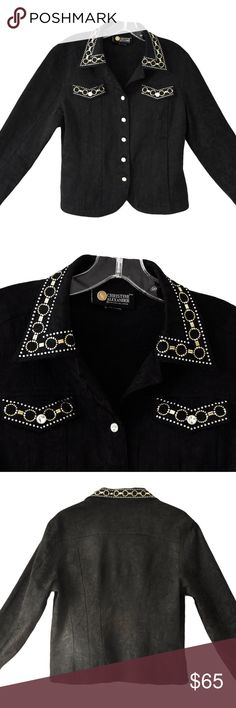 "CHRISTINE ALEXANDER Medium Black Rhinestones Beads CHRISTINE ALEXANDER Shirt/Jacket Black Floral Print Size: M  Black Floral Print 50% Cotton, 47% polyester, 3% Spandex **Pre-owned, excellent condition This is a beautiful, black with floral print shirt/jacket from CHRISTINE ALEXANDER. It has button down front, and gorgeous rhinestone and bead detail. Beautiful! Inventory #100 Approximate Measurements Taken Flat Across Jacket Shoulder to shoulder: 17.5"" Underarm to Underarm: 20"" Length (from…"