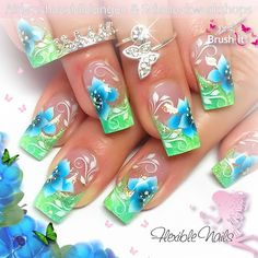 – Airbrush Nails – Summer – – Nägel, You can collect images you discovered organize them, add your own ideas to your collections and share with other people. Green Nail Designs, Flower Nail Designs, Flower Nail Art, Cute Nail Designs, Acrylic Nail Art, Acrylic Nail Designs, Luminous Nails, Airbrush Nails, Nagel Hacks