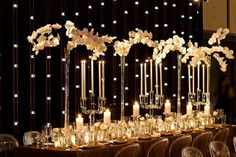 black fabric with white lights. Tall clear vases with orchids lots of candles. Gold linens...lots of candles
