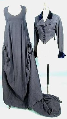 Georgian women's riding habit, 1810. Features a sleeveless dress and long sleeved jacket in oyster gray.
