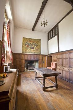 The magnificent double-storey oak-panelled dining hall with its vaulted ceiling and window, first floor landing window and oak panelling    Rightmove