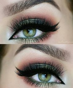 Feline Liner + Lashes + Green Smokey + Baby Pink Outer V                                                                             Source