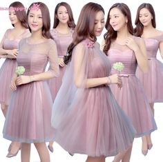 new arrivals 2018 winter robe de mariage elegant short blush tulle bridsmaid dress formal party ball gown bridesmaid dress B3907