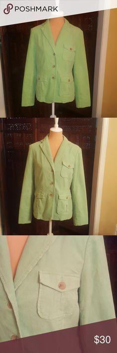 "Like new! Lands' End Key Lime Cord Jacket Super soft cordoroy jacket. 23"" long. TtS. Size 12. Machine washable. Lands' End Jackets & Coats"
