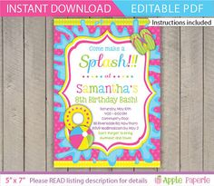 Pool Party Birthday Invitations by FromHeadtoToeDesigns on Etsy
