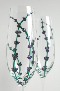 Lavender Wedding Toasting Flutes-Set of 2 Personalized Champagne Flutes by Mary Elizabeth Arts