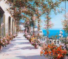 La-_passeggiata_sul_lago Lucia Sarto   Italian Romantic Impressionist painter