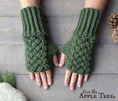 Celtic Weave Fingerless Gloves, Pattern by Over The Apple Tree