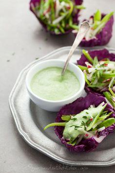 Snap Pea Slaw Cups with Avocado Chive Cream gourmandeinthekitchen.com vegan paleo raw