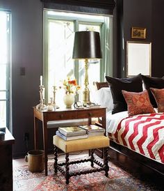 A dark and classy bedroom! This post breaks down what makes this space so amazing… and how to copy it!! via interior designer @FieldstoneHill Design, Darlene Weir #ditto #darkwalls #guestroom