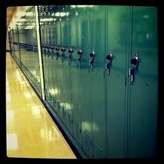 At my high school, last year as a senior prank, the seniors set their phone alarms to go off at 10:00, and then put locked them in their lockers. At 10:00, every phone alarm went off inside the lockers, and the teachers went crazy trying to open lockers to get the phones off :) this pic reminded me of this