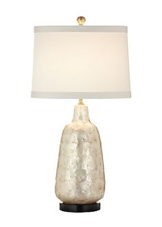 """Another Wildwood hand applied capiz shell ceramic composite. 27"""" SHELL VASE LAMP"""