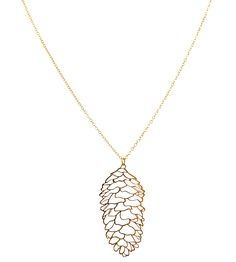 Gold Pine Cone Necklace//