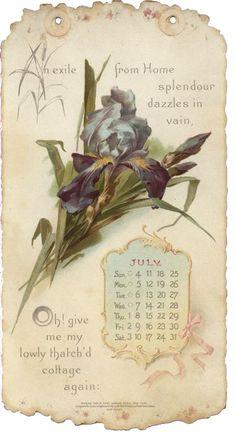 July 1897 Calendar Tag ~ Violeta lilás Vintage