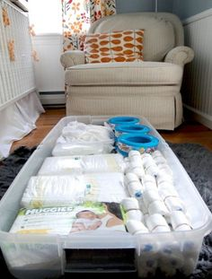 Under-crib storage  Utilize under-crib space with big storage boxes for extra diapers, wipes, and more. Keep the storage box out of sight with a crib skirt.