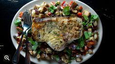 Grilled Swordfish with Eggplant-and-Pepper Salad...can't wait to make this with our homegrown eggplants!