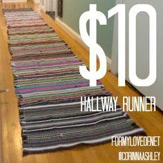 $10 Hallway Runner Rug DIY - For My Love Of blog