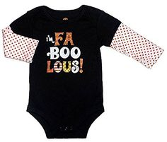 Assorted Witch, Pumpkin, Cat Baby Boys & Girls Halloween Bodysuit Dress Up Outfit (12 Months, I'M FA BOO LOUS!)