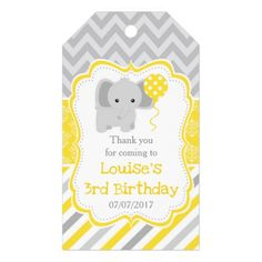 Cute Elephant Yellow Damask Birthday Thank You Gift Tags - thank you gifts ideas diy thankyou
