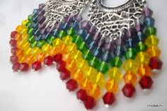 Crystal Beaded Chandelier earrings Rainbow beaded by Obsidianrain