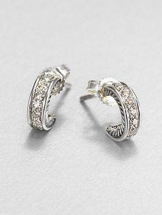 David Yurman - Diamond & Sterling Silver Mini Hoop Earrings - Saks.com