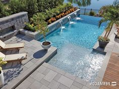 Elegant and tropical-inspired design for this poolside and flowerbed //// A mixture of class and exoticism for this swimming pool and flowerbeds. Children Swimming Pool, Small Swimming Pools, Swimming Pools Backyard, Swimming Pool Designs, Pool Landscaping, Small Backyard Patio, Backyard Patio Designs, Outdoor Pool, Mod Pool