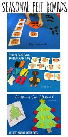 We have been enjoying our holiday felt boards the past few months. My kids get really excited with each new one I create for them. This week we made a Christmas Tree felt board with printable cards to use in making fun felt Christmas patterns with trees. Flannel Board Stories, Felt Board Stories, Felt Stories, Flannel Boards, Felt Board Templates, Felt Board Patterns, Owl Templates, Applique Templates, Applique Patterns