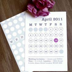 White Knot, BETTIE. Hochzeitseinladung als Kalendar