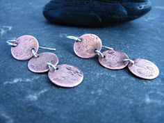 Items similar to Triple Copper Circular Earrings with Silver Accents - Upcycled Recycled Repurposed on Etsy Repurposed, Upcycle, Copper, Stud Earrings, Silver, Etsy, Jewelry, Earrings, Jewlery