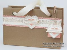 """The Crafty Medic: Sweet Baby Gift - Stampin' Up! My Paper Pumpkin kit """"In The Bag"""", Best of Brides & Babies, Hearts a Flutter, and Itty Bitty Banners stamp sets with coordinating framelits."""