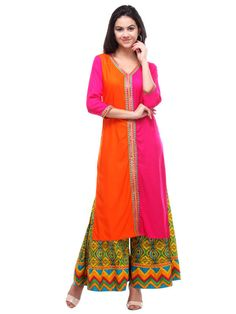 Shopo.in : Buy S Orange&pink Embroidered Rayon Kurtis online at best price in New Delhi, India