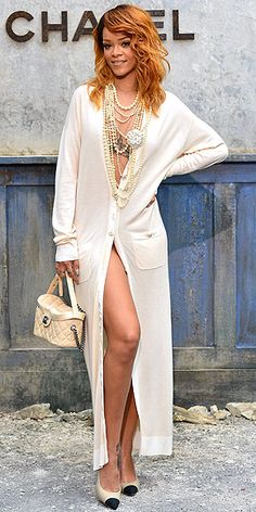 RIHANNA Have you ever seen a granny cardigan look so positively un-grannie-ish? The singer leaves us without words when she goes without pants in this floor-length sweater, accessorized with tons of pearls at the Chanel Haute Couture fashion show in Paris.