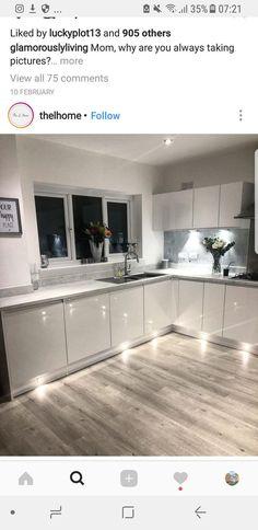 Kitchen lighting ideas remodel under cabinet Ideas Kitchen Room Design, Home Decor Kitchen, Kitchen Layout, Interior Design Kitchen, Home Kitchens, Kitchen Ideas, Gloss Kitchen, 3d Home, Cabinet Decor