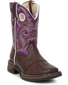 """Durango Boot - Girl's 8"""" Lil' Flirt Boots - Dark Brown & Purple... boots for little Luna!"""
