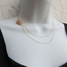 love this flower necklace dainty double chain by lizix26