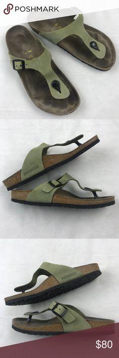 BIRKENSTOCK Gizeh Thong Sandals Green Narrow BIRKENSTOCK Gizeh Thong Sandals Green Narrow  Size 39 fits 8- 8.5 Birkenstock Shoes Sandals