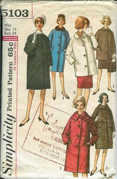 Simplicity 5103 Misses Coat Pattern Large Round Collar vintage sewing pattern by mbchills Faux Fur Collar, Fur Collars, Vintage Patterns, Vintage Designs, Leopard Print Coat, Coat Patterns, Vintage Coat, Etsy Vintage, Coats For Women