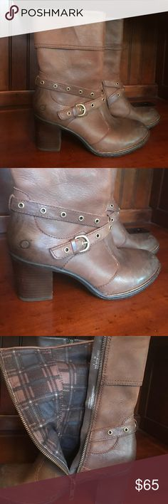 """Born Brown Boots EUC Born (not Concept) leather mid-calf boots. Extremely soft flannel lined. 2.5"""" wood heel. Excellent condition. Worn once or twice. No wear on treads as pictured. Born Shoes Heeled Boots"""
