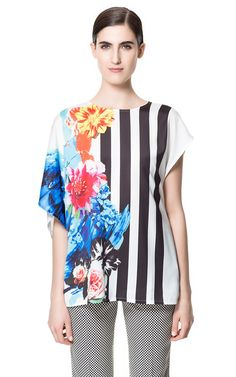 Image 1 of STRIPED FLORAL T-SHIRT from Zara