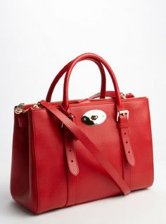 red leather 'Bayswater' double zip convertible tote by Mulberry. Yummy.