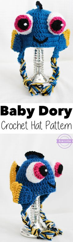 Baby Dory Crochet Hat Free Pattern from Sewrella Crochet Kids Hats, Crochet Beanie, Crochet Crafts, Crochet Clothes, Crochet Projects, Free Crochet, Knit Crochet, Crocheted Hats, Crochet Character Hats